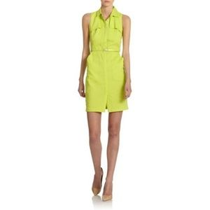 Elie Tahari 6 Gianna Belted Shirt Dress Neon Green